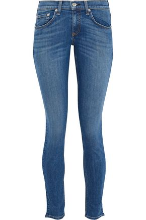 RAG & BONE Faded low-rise skinny jeans