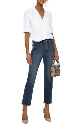 RAG & BONE Cropped faded high-rise straight-leg jeans