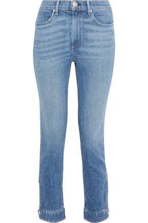 RAG & BONE Snap-detailed faded high-rise slim-leg jeans