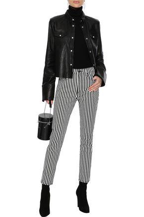 RAG & BONE Striped high-rise slim-leg jeans