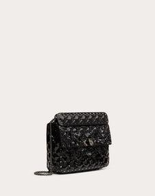 Medium Rockstud Spike.It Metallic Polymer Bag with Flowers