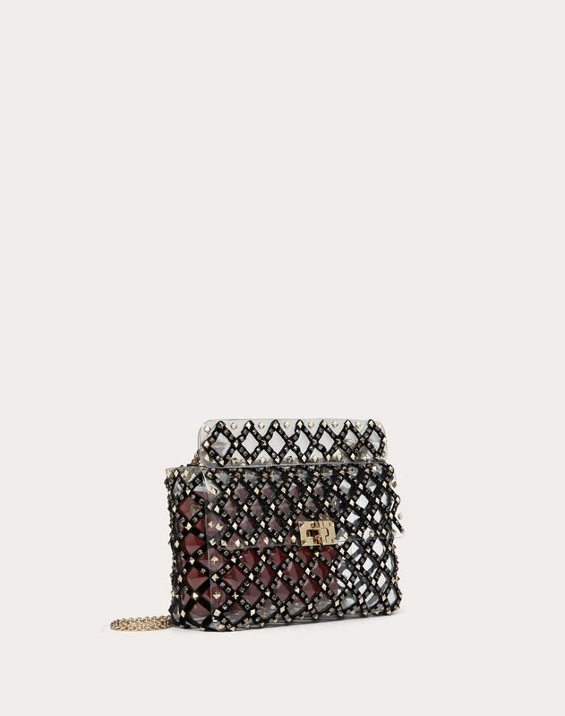 Medium Rockstud Spike.It Transparent Polymer and Velvet Bag