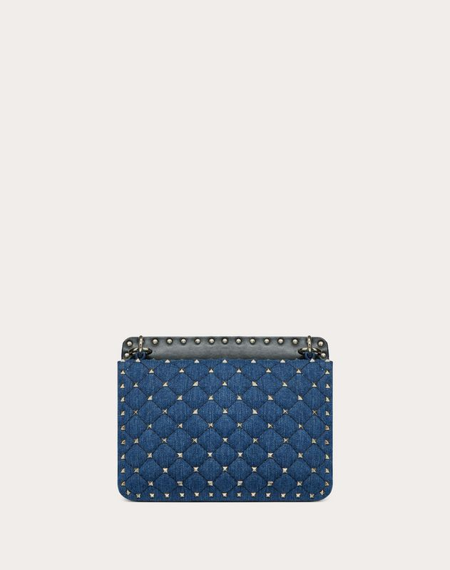 Medium Rockstud Spike.It Denim Bag with Flowers