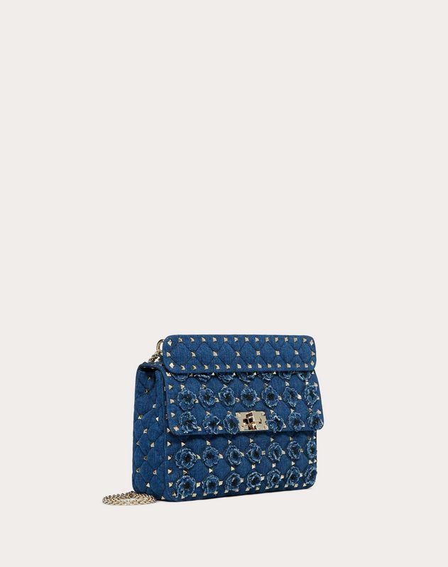 Medium Rockstud Spike.It Denim Bag with Flowers