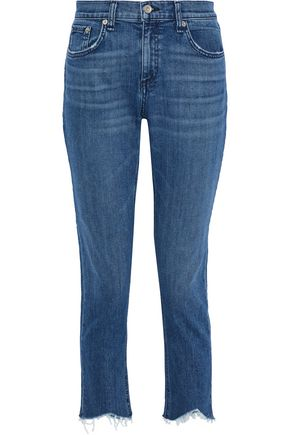 RAG & BONE Dre cropped distressed mid-rise straight-leg jeans
