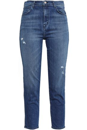 J BRAND Cropped distressed high-rise slim-leg jeans