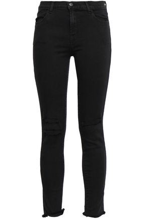 9e9ff88a39b1 J BRAND Cropped distressed mid-rise skinny jeans
