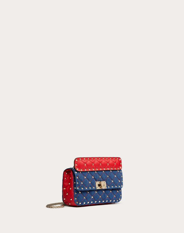 Small Rockstud Spike Denim Bag
