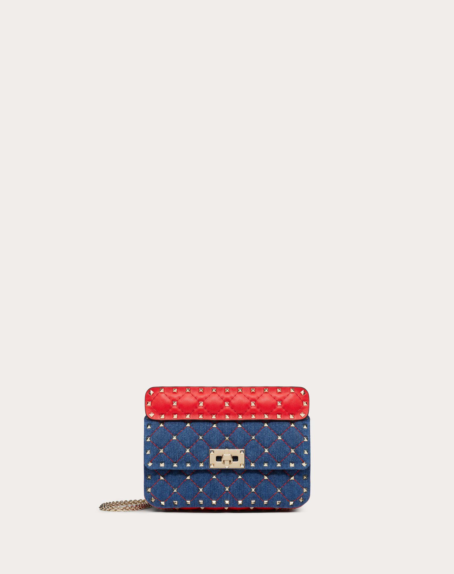 Small Rockstud Spike Denim Bag