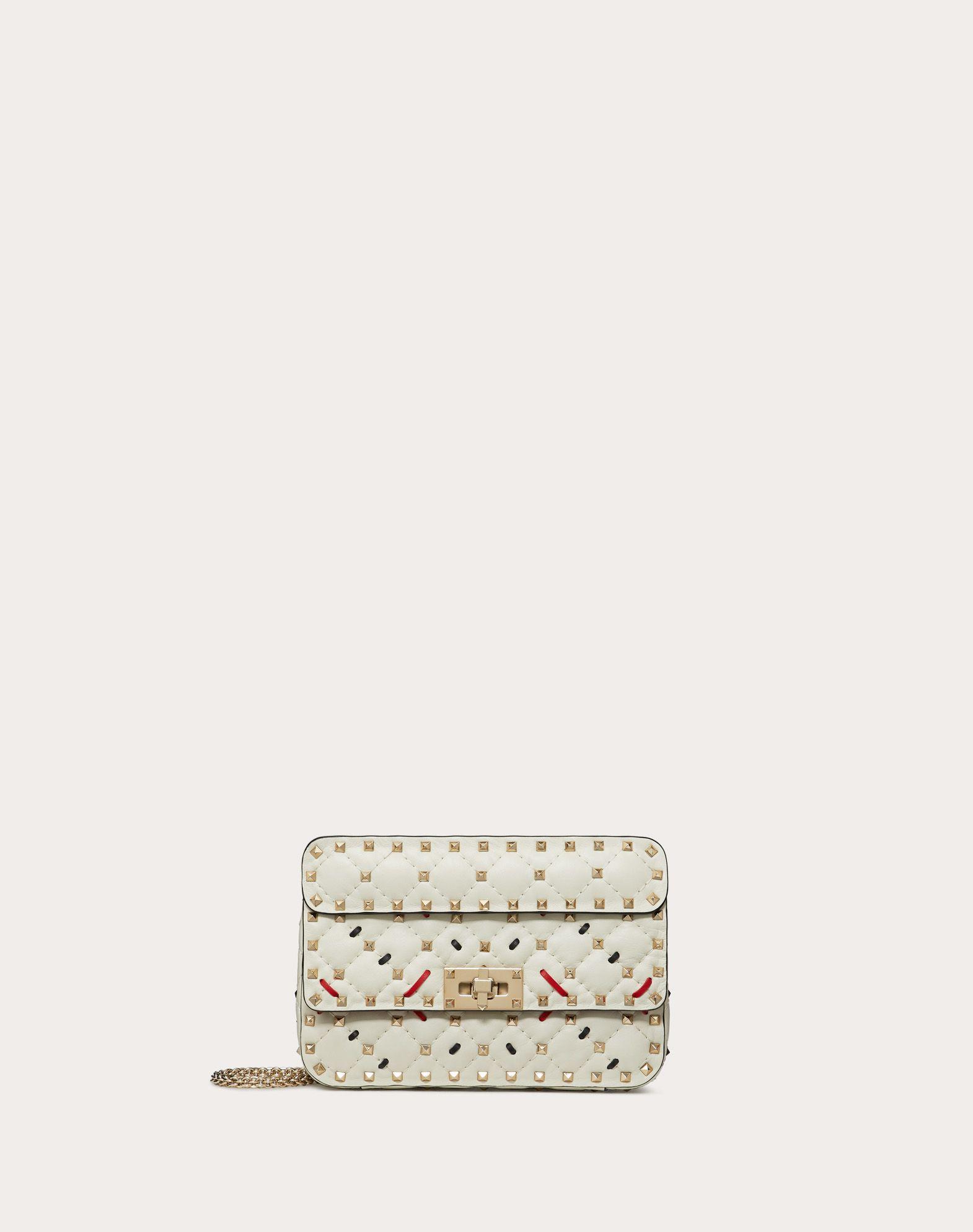 Small Rockstud Spike.It Nappa Bag with Decorative Stitching