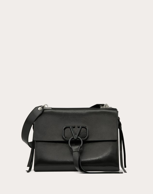 VRING Shoulder Bag in Smooth Calfskin with Lacquered Logo