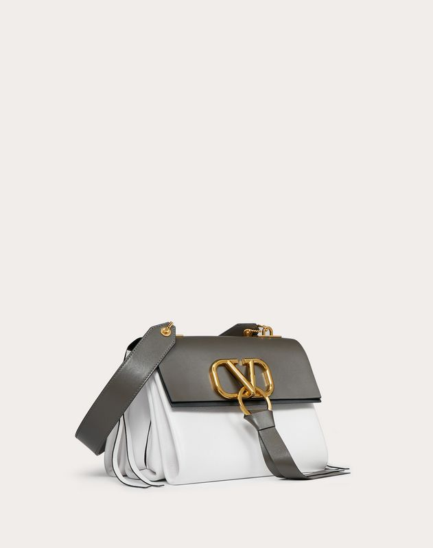 Small VRING Smooth Calfskin and Buffalo Leather Shoulder Bag