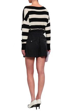 A.L.C. Belted washed silk and cotton-blend shorts