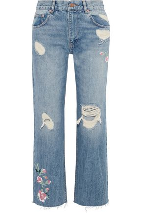ANINE BING Embroidered distressed high-rise straight-leg jeans