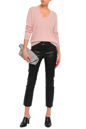 J BRAND Cropped laser-cut leather slim-leg pants