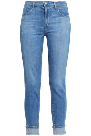 J BRAND Alana cropped distressed high-rise skinny jeans