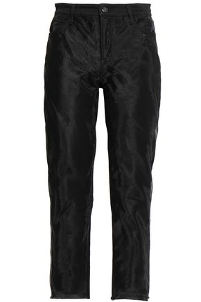 J BRAND Organza-paneled high-rise straight-leg jeans