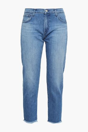 J BRAND Distressed low-rise slim-leg jeans