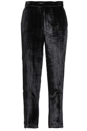 J BRAND Cropped crushed-velvet tapered pants