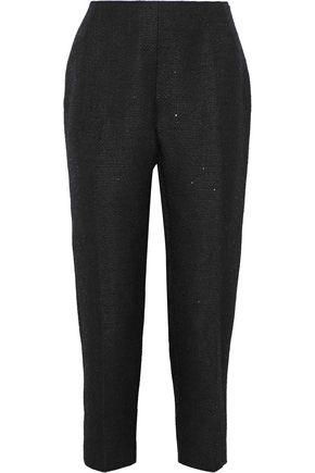 LELA ROSE Cropped sequin-embellished tweed straight-leg pants