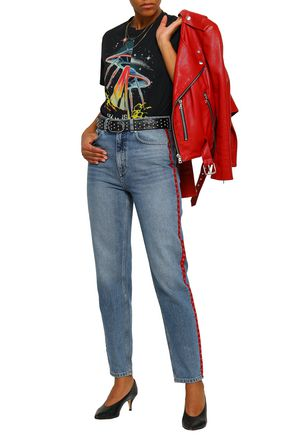 ANINE BING Appliquéd faded high-rise tapered jeans