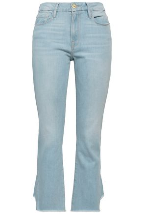 FRAME Frayed high-rise kick-flare jeans