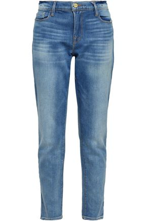FRAME Faded high-rise slim-leg jeans