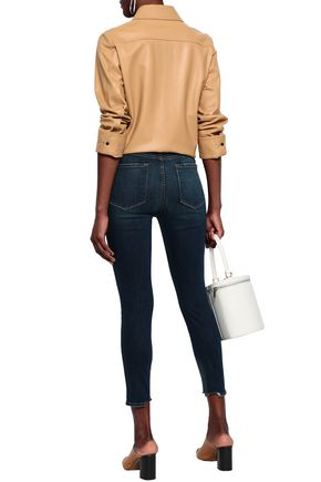 FRAME Ali High Rise Cigarette cropped distressed high-rise skinny jeans