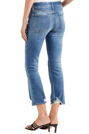 FRAME Distressed mid-rise bootcut jeans