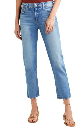 FRAME Le Nouveau Straight cropped distressed mid-rise straight-leg jeans