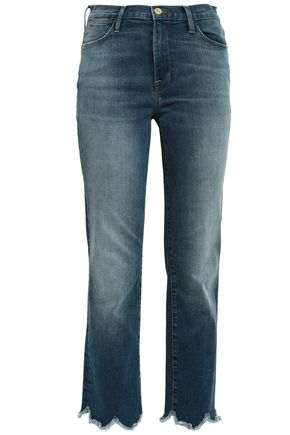 FRAME Le High cropped frayed high-rise straight-leg jeans