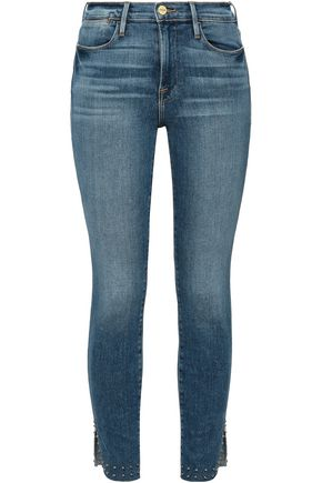 FRAME Le High studded high-rise skinny jeans