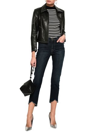 FRAME Le High Straight cropped frayed high-rise slim-leg jeans