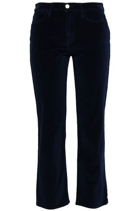 FRAME Le Velveteen cropped cotton-blend velvet straight-leg pants
