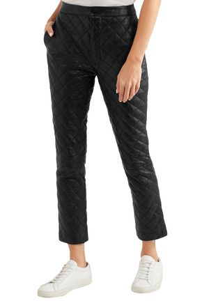 FRAME Cropped quilted leather straight-leg pants