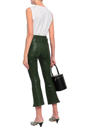 FRAME Le Crop cropped leather bootcut pants