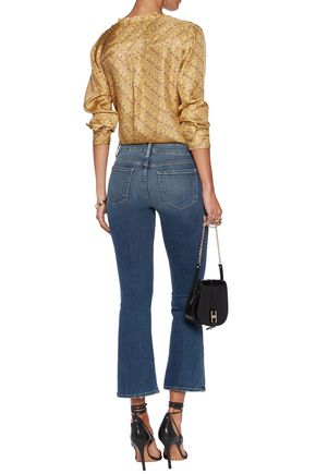 FRAME Cropped faded high-rise bootcut jeans