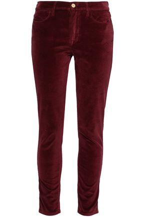 FRAME Cotton-blend velvet skinny pants