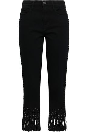FRAME Fringed studded high-rise straight-leg jeans