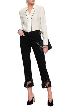FRAME Le High Straight fringed studded high-rise straight-leg jeans