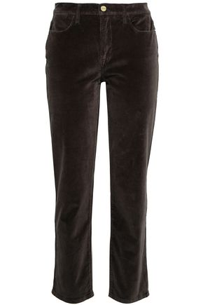 FRAME Cotton-blend velvet straight-leg pants