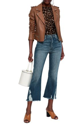 FRAME Cropped distressed high-rise bootcut jeans