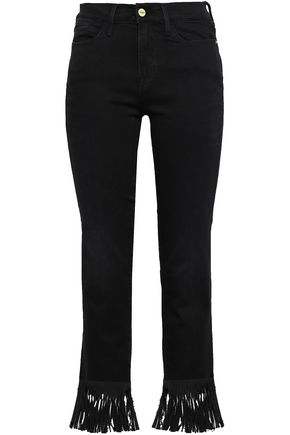 FRAME Le Crop cropped fringe-trimmed high-rise straight-leg jeans