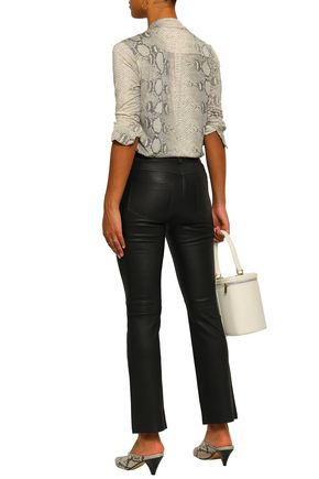 ANINE BING Stretch-leather straight-leg pants