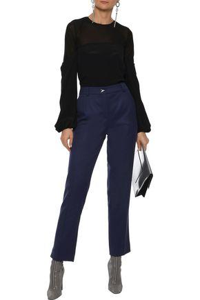 MUGLER Cropped wool-twill straight-leg pants