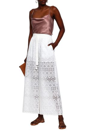 ZIMMERMANN Broderie anglaise cotton and silk-blend wide-leg pants
