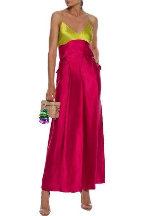 Rosie Assoulin Woman Lace-Up Linen-Blend Duchesse-Satin Wide-Leg Pants Crimson