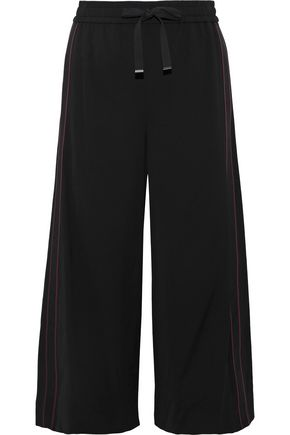 VINCE. Cropped grosgrain-trimmed crepe wide-leg pants