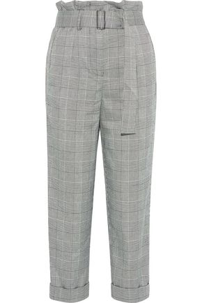 NICHOLAS Cropped Prince of Wales checked jacquard straight-leg pants