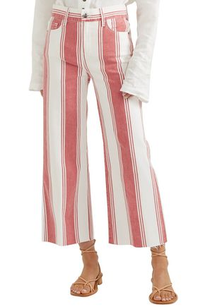 FRAME Vintage Crop striped high-rise wide-leg jeans